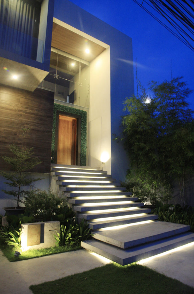 Entrance to modern home, evening shot