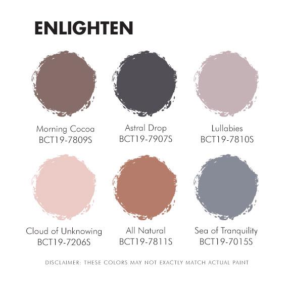 Color Trend 2019 Enlighten Palette