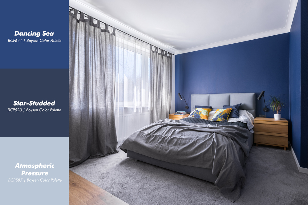 Blue Bedroom Interior with Boysen Color Palatte