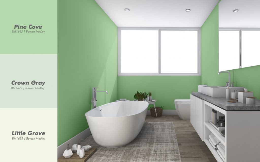 Green Bathroom Interior with Boysen Color Palatte