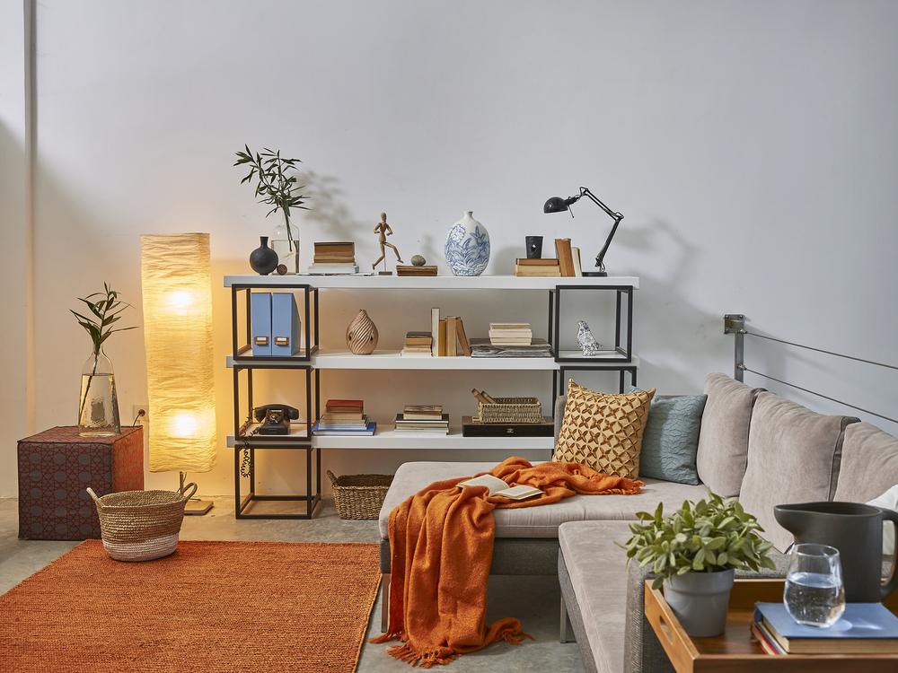 Office room with orange drape