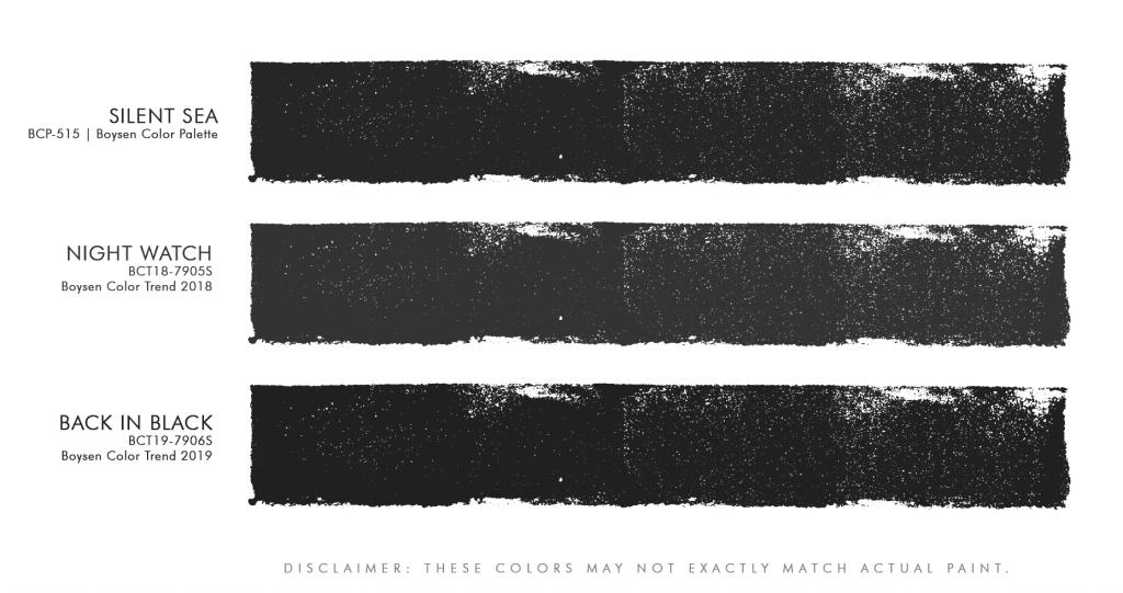 Boysen Black Paint swatches