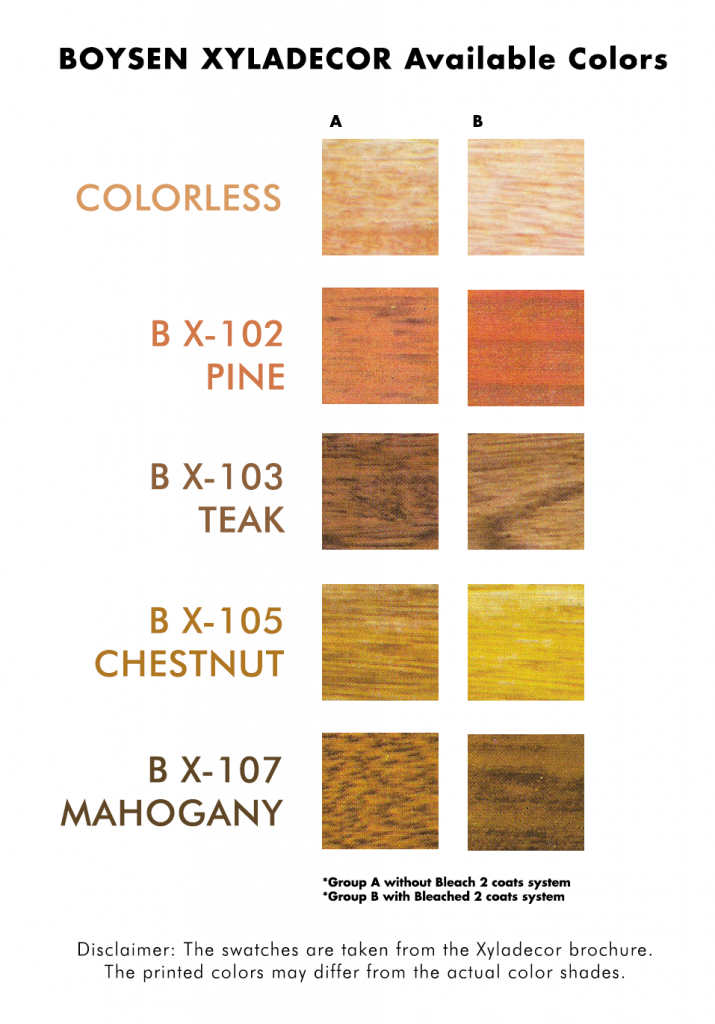 Boysen Xyladecor Available Colors