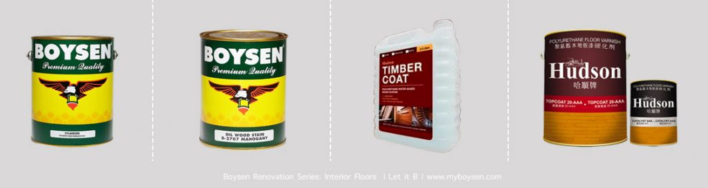 Boysen Xyladecor, Boysen Oil Wood Stain, Timber Coat, & Hudson Polyurethane Floor Varnish