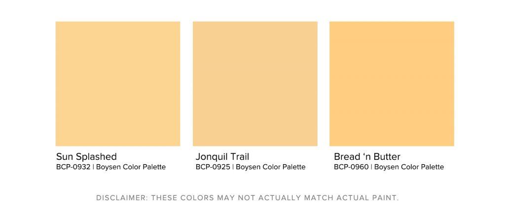 Home Office Paint Colors - Boysen Pastel Yellow Palette