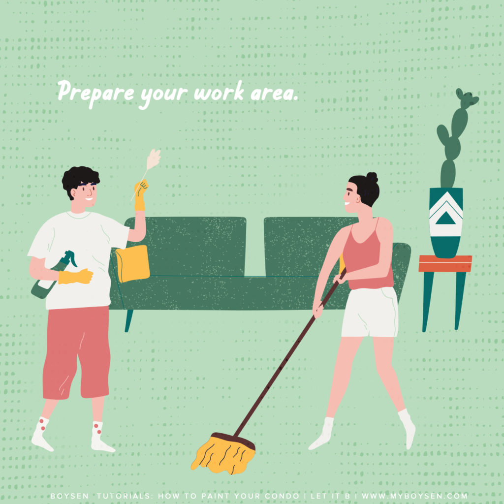 Boysen Tutorials: How to Paint Your Condo | Prepare the room.
