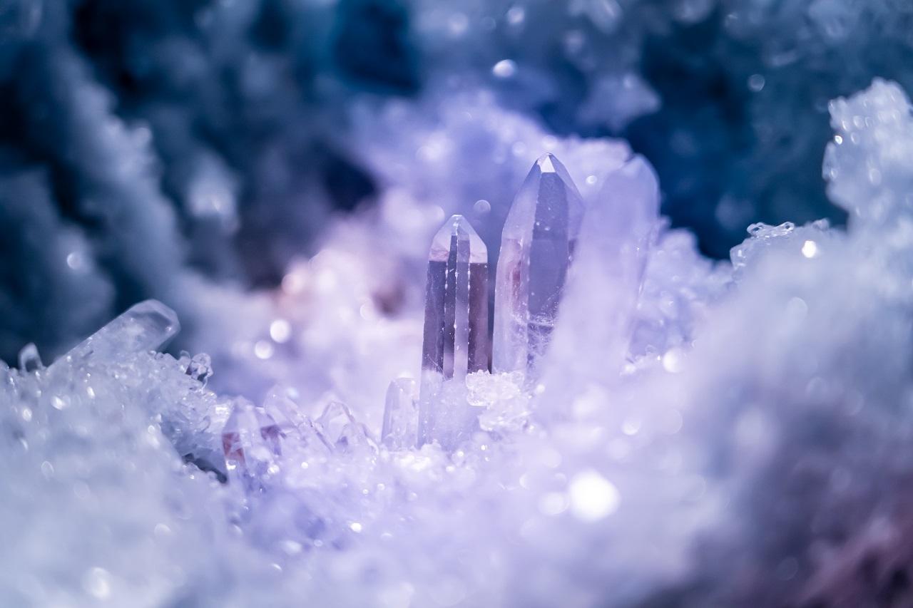 Close up of light purple gems