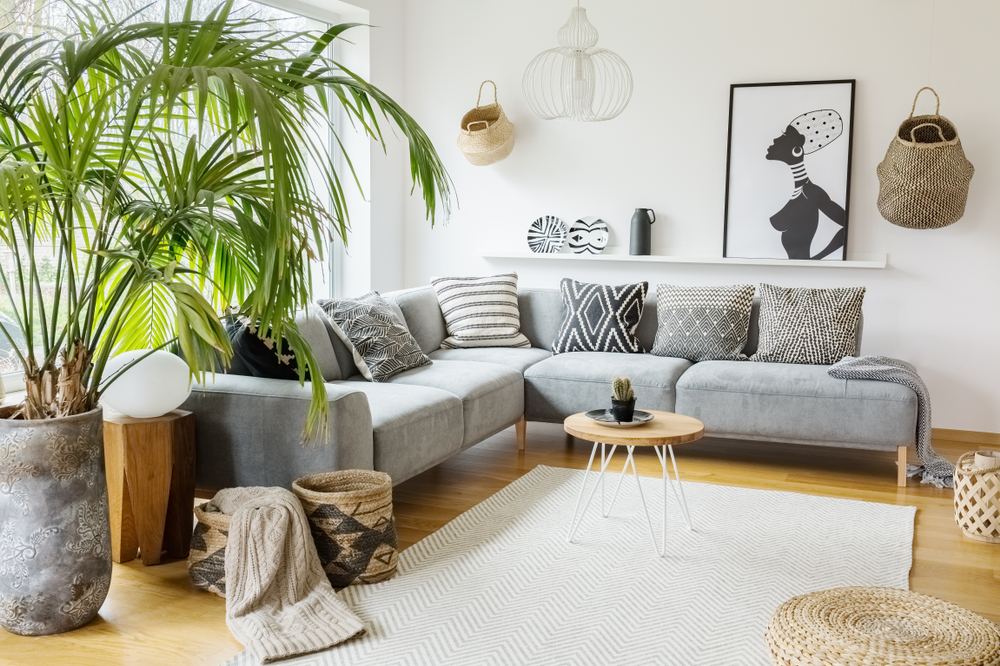 Living room with African-inspired theme with the geometric tribal prints