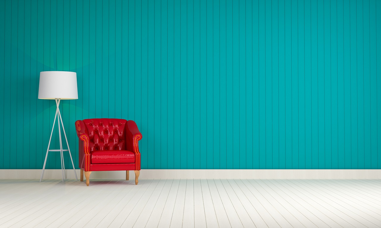 Blue walls with a red chair