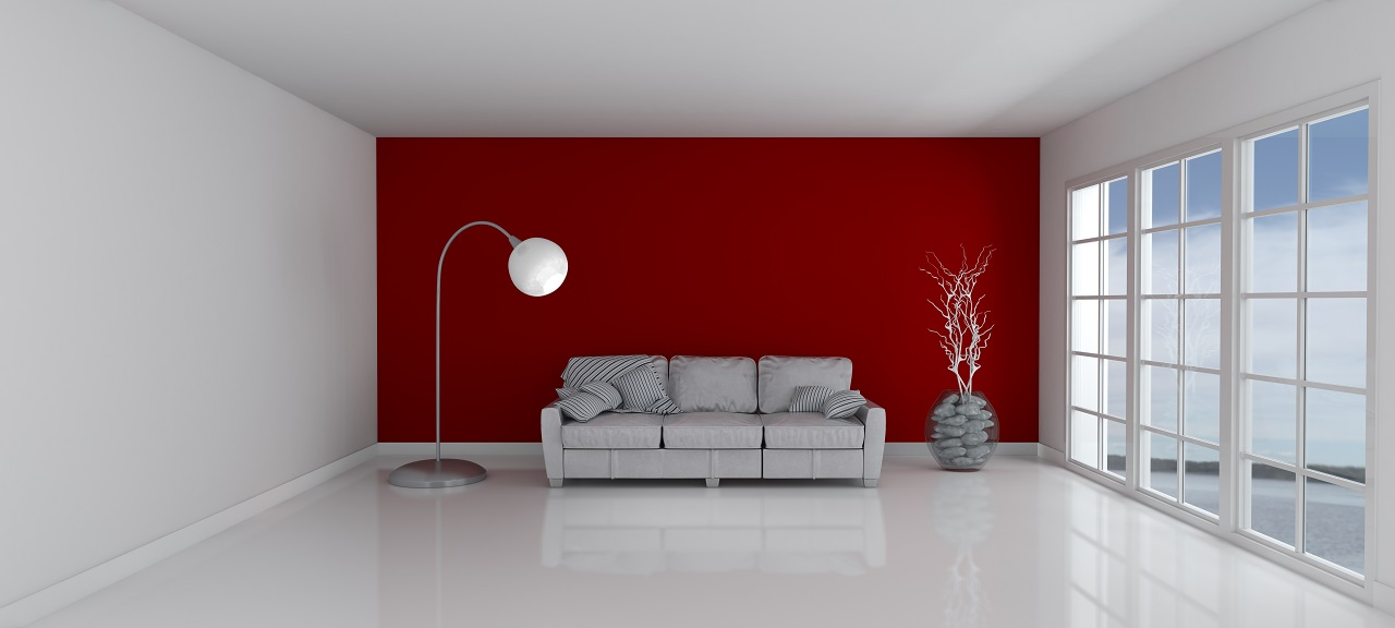 A white room with red walls
