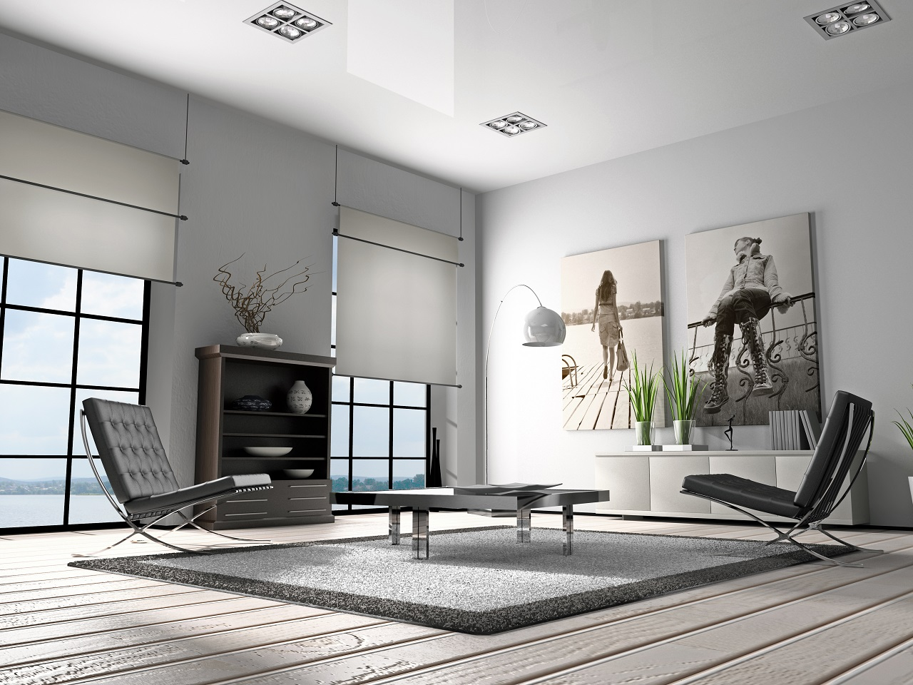 A living room decorated with different shades of grey