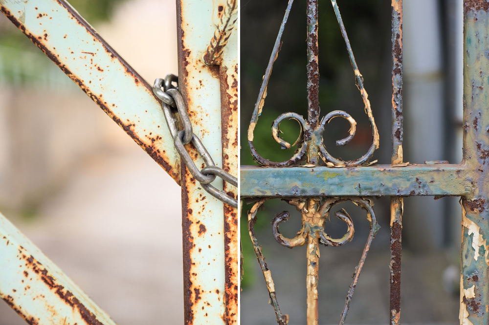 Rusty gate and fence