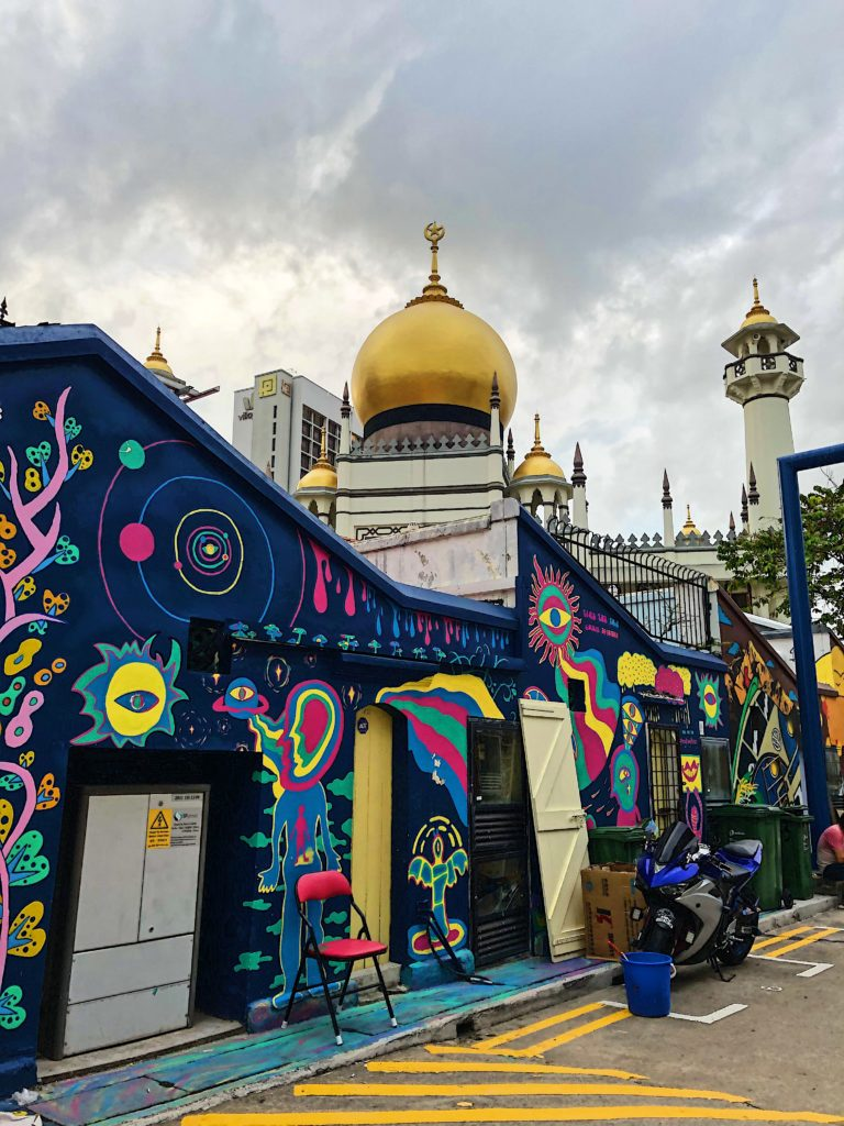Street art and mosque in Singapore