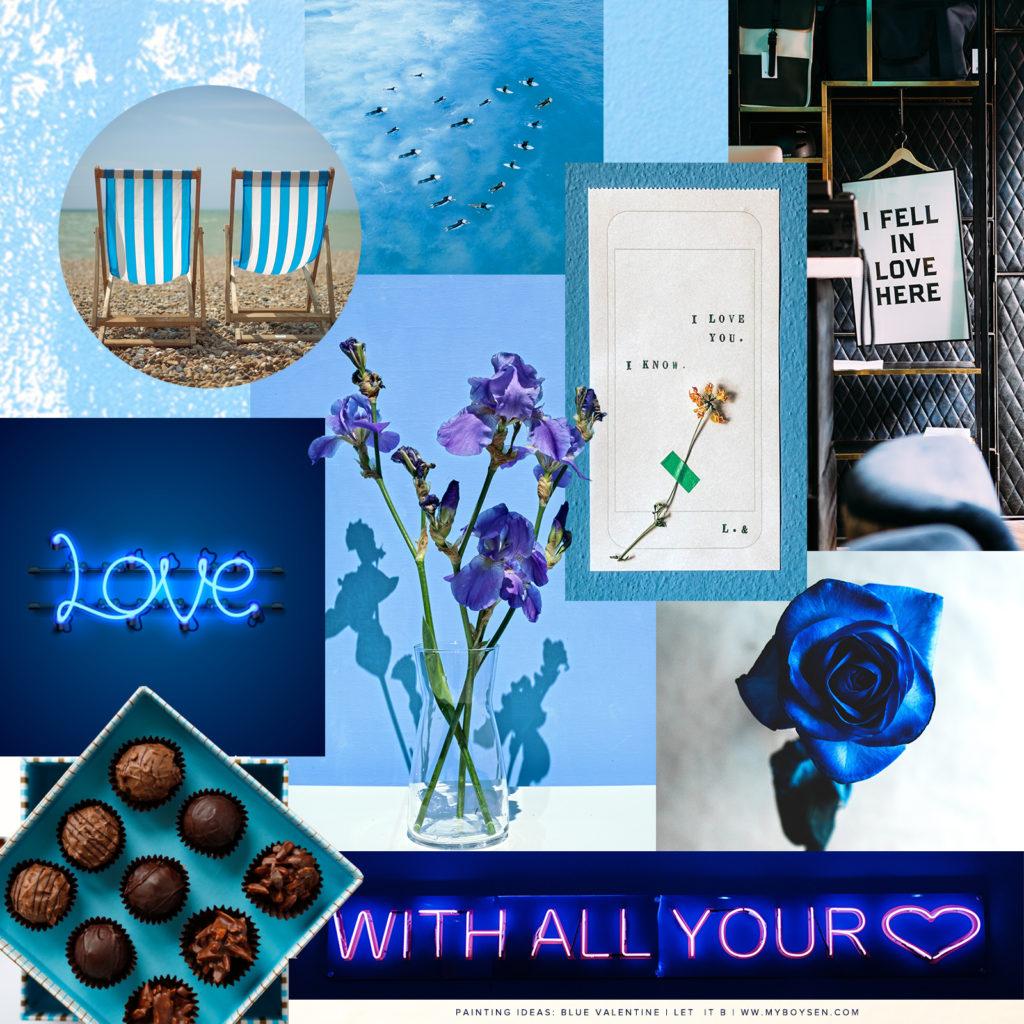 Blue valentine collage